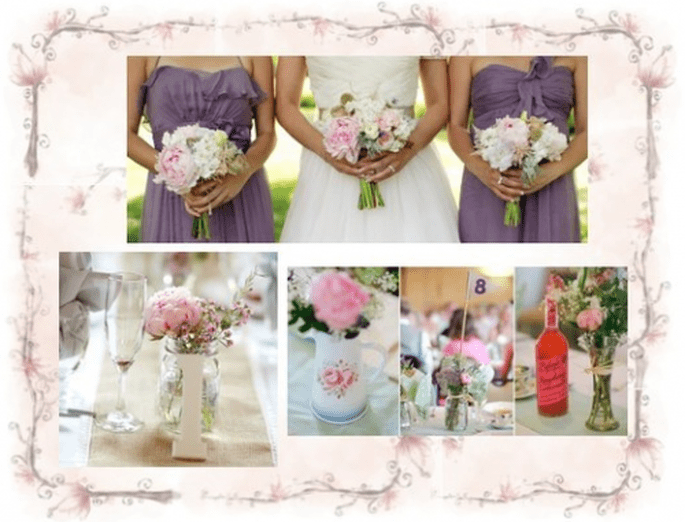 Centres de table et bouquets de mariée rose pastel - Photos Jen Lynne Photography