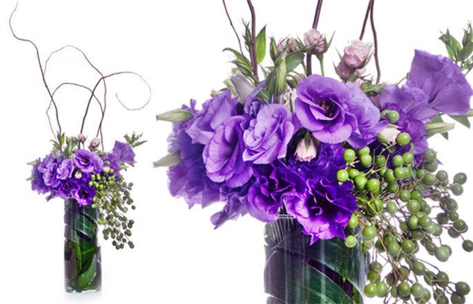 Ramo de flores diversas en color violeta - Foto: Ramos Boutique Floral