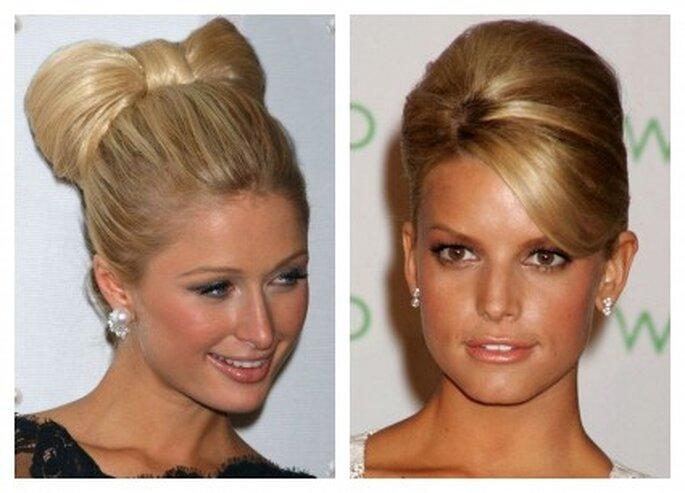 Si tu frente es pequeña sujeta todo tu cabello. Usalo como Jessica Simpson si tienes el rostro largo y frente amplia.