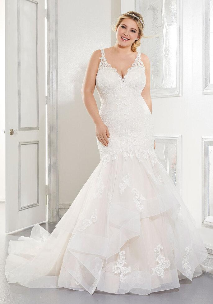 vestido de novia corte sirena con falda con volumen