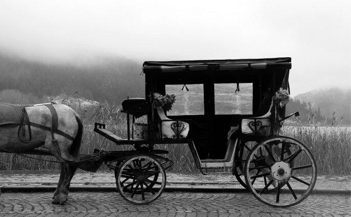 chegada dos noivos de charrete e cavalo