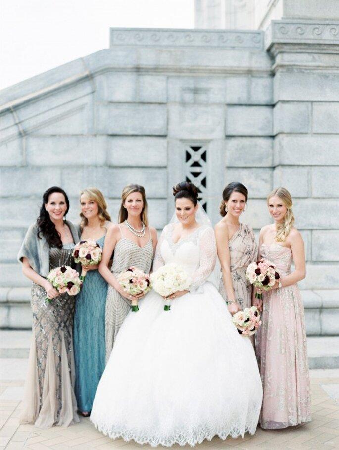 Cómo combinar los vestidos de tus damas de boda - Clary Pfeiffer Photography
