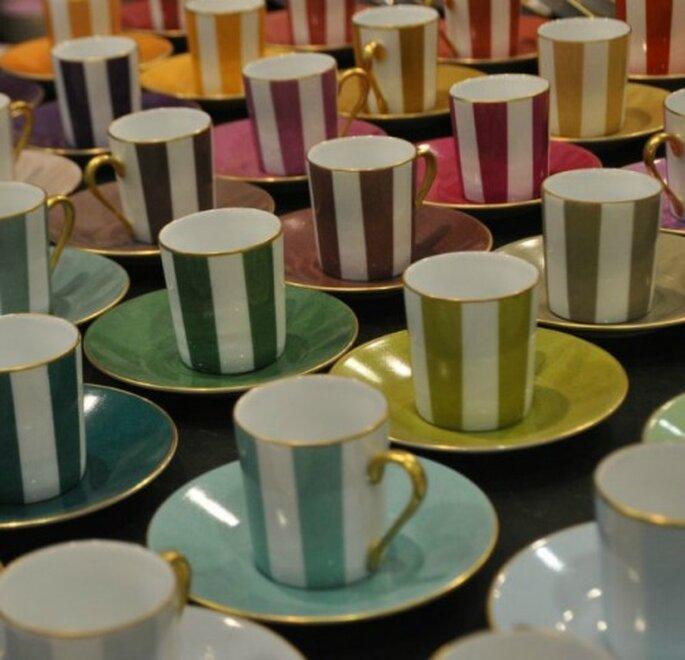 Marie Daâge fue la primera en introducir las rayas verticales como estas en los servicios de mesa de todo el mundo. Foto: Marie Daâge.