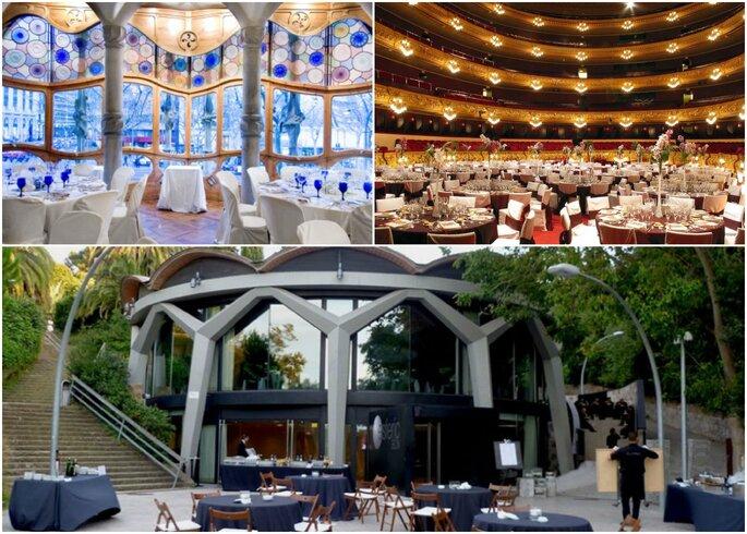 Фото (слева направо): Casa Batlló,  Gran Teatro del Liceo, Esferic BCN