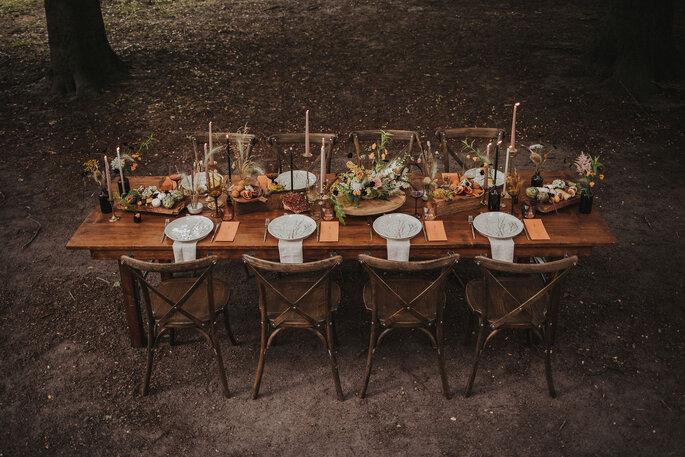 Tischdekoration Gartenhochzeit im kleinen Kreis