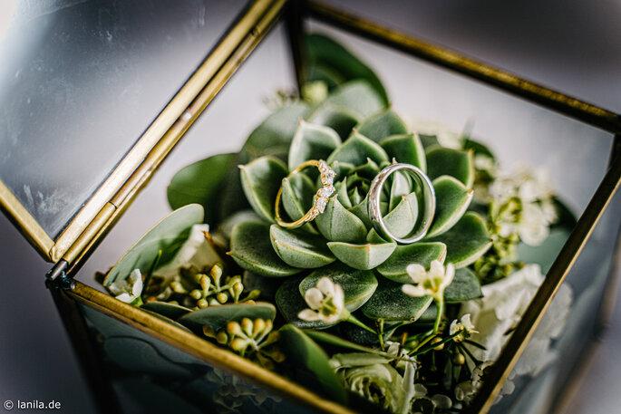 Ringkissen - goldenes Vintage Glas Etui - dekoriert mit Sukkulente & Wachsblümchen
