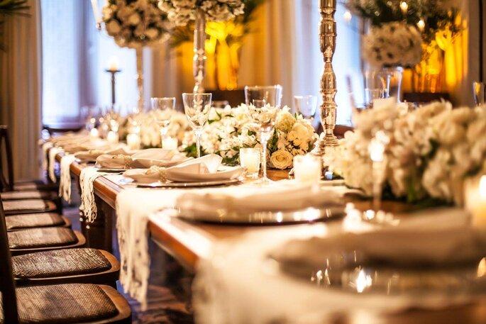 decoração mesa casamento clássico