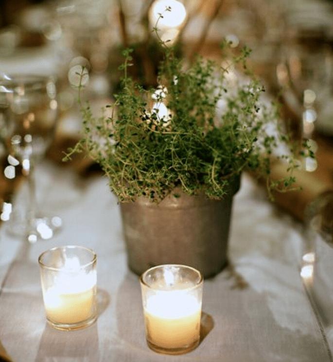 Centro de mesa con inspiración ecológica y vintage - Foto Cronin Hill Photography