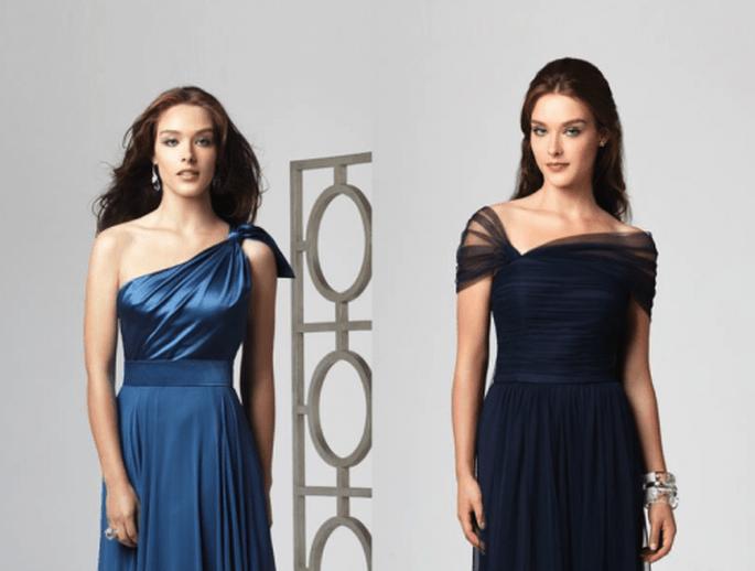 Vestidos para damas de boda en color azul eléctrico y marino - Foto Dessy