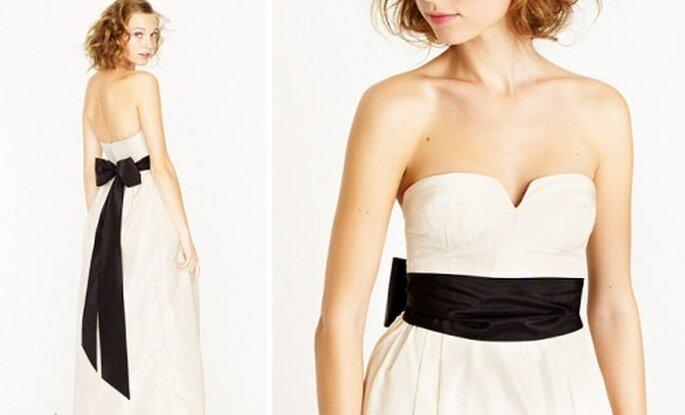 Cinto liso en color negro para el vestido de novia - Foto J.Crew