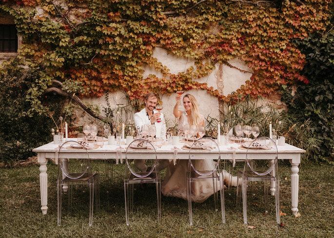 Mesa de novios para boda rústica