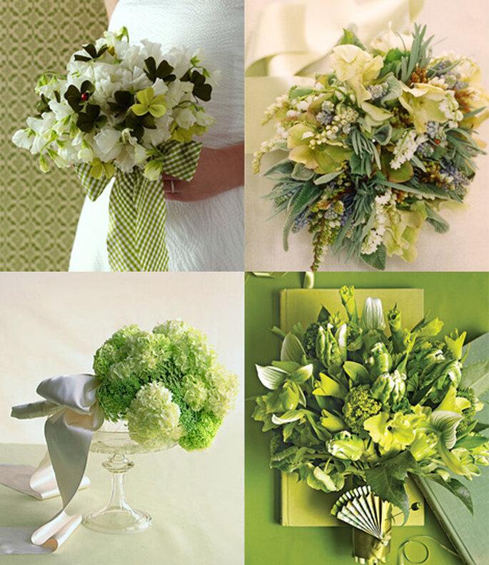 Opciones de bouquets donde el verde predomina