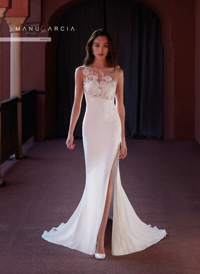 Vestido de novia sin mangas con detalles de efecto tatto