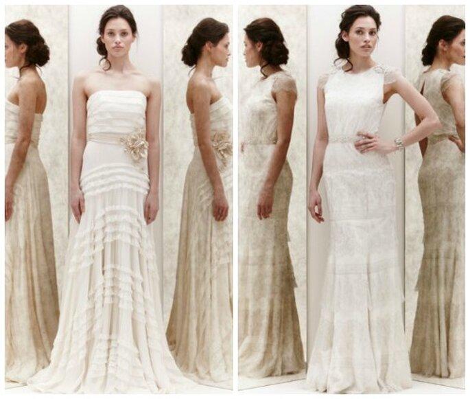 Di ispirazione dichiaratamente vintage questi modelli di Jenny Packham Spring 2013 Foto New York Bridal Week