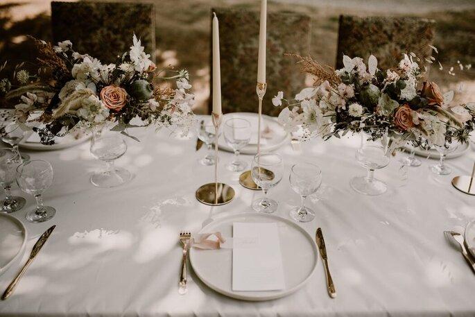 Décoration de tables de mariage hippie