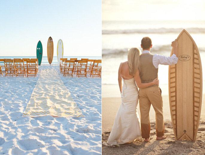 Un altar muy original decorado con tablas de surf - Foto Mad Love Weddings y A Brit and A Blonde