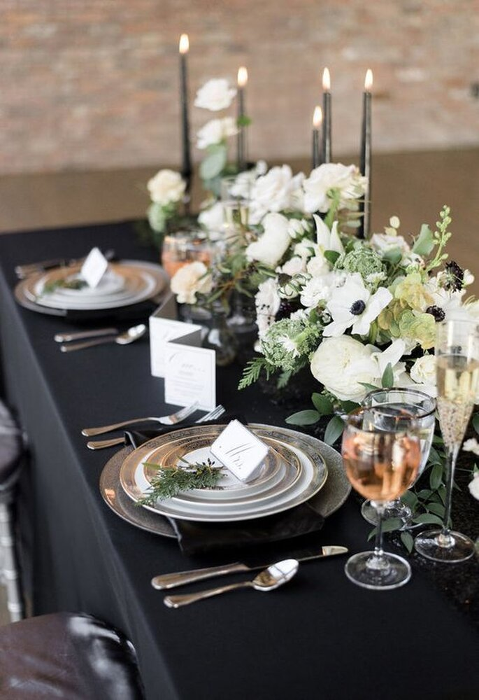 centro mesa preto prata casamento