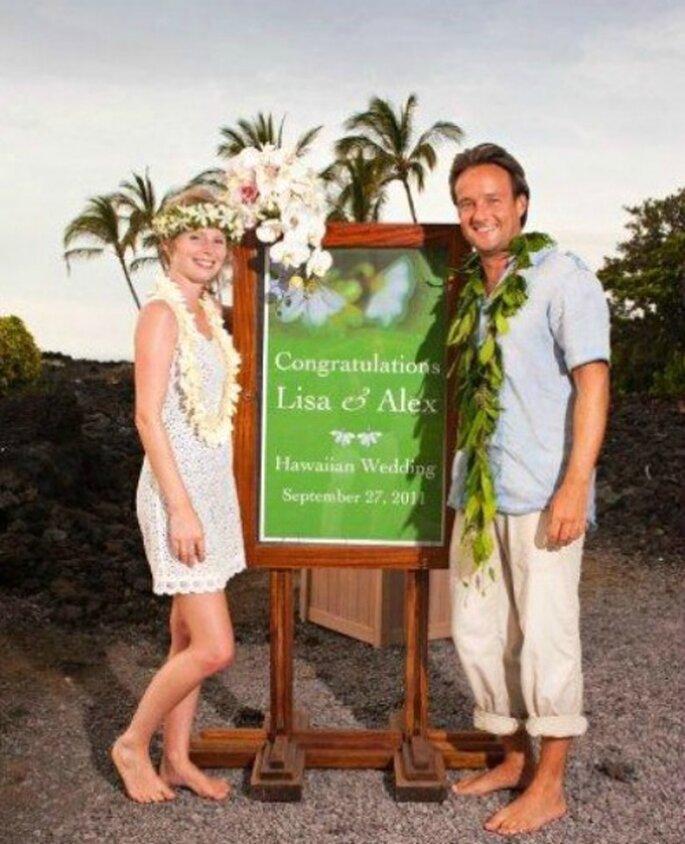 Lisa & Alex boda en Hawaii.    Foto: Lisa y Alex.