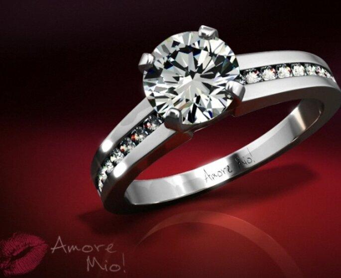 Anillo de compromiso y churumbela de diamantes