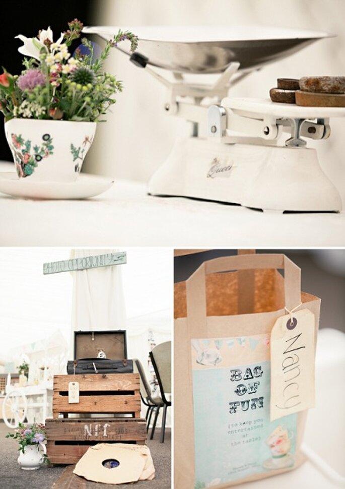 Centros de mesa y decoración de boda en color menta - Foto HBA Photography