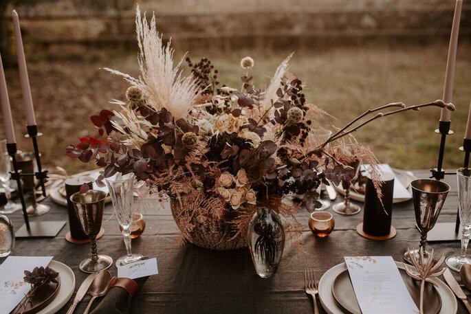 Trockenblumen Tischdekoration
