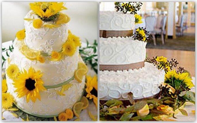Torta Matrimonio Girasoli : Un matrimonio tinto di giallo decorare con i girasoli