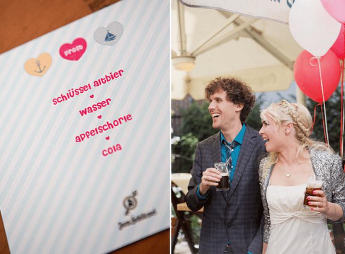 Decoración de boda en rosa y azul. Fotografía Nancy Ebert