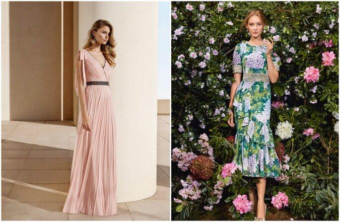 Vestido para convidada de casamento: rosa bebe com saia fluida e cinto e midi com flores hortensias em tons de verde e lillás