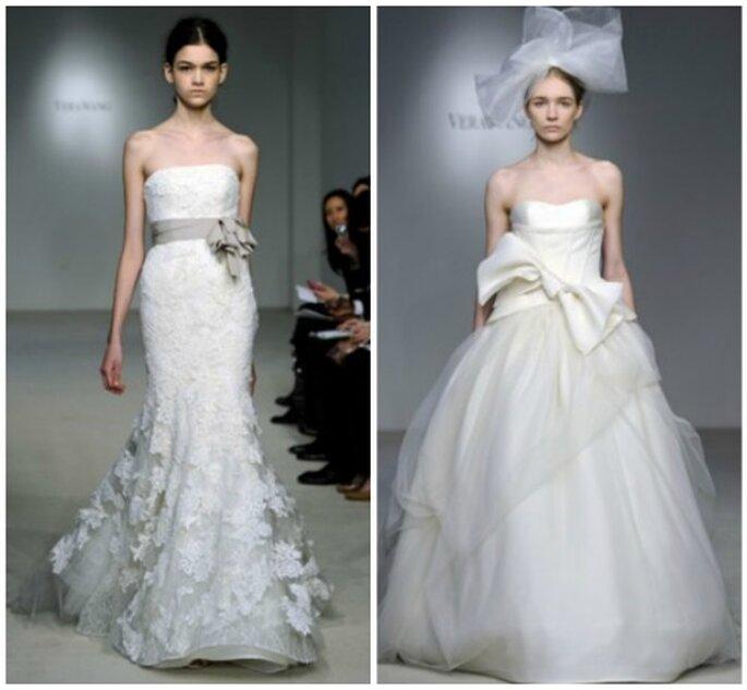 Vestidos de novia con lazo en la cintura. Foto: Vera Wang