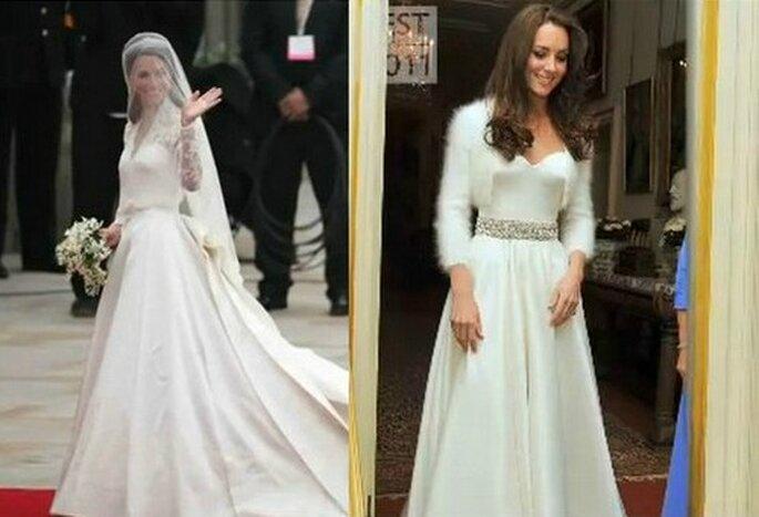 Lo strepitoso abito da sposa indossato per la celebrazione religiosa all'Abbazia di Westmister e l'abito scelto per la cena serale. Entrambi disegnati da Sarah Burton per Alexander McQueen. Foto: www.youtube.com