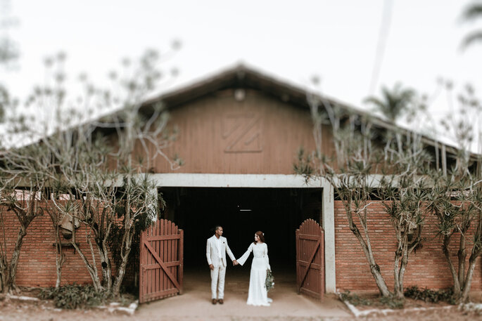 Registro romântico dos noivos