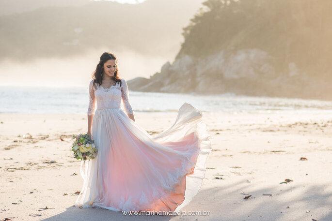 vestido de noiva esvoaçante