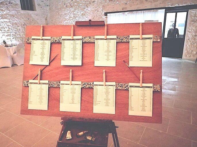 Nouveau Chapitre - Tableau de wedding planner couleur terre de soleil pour montrer aux invités à quelle table ils sont assis - plan de table