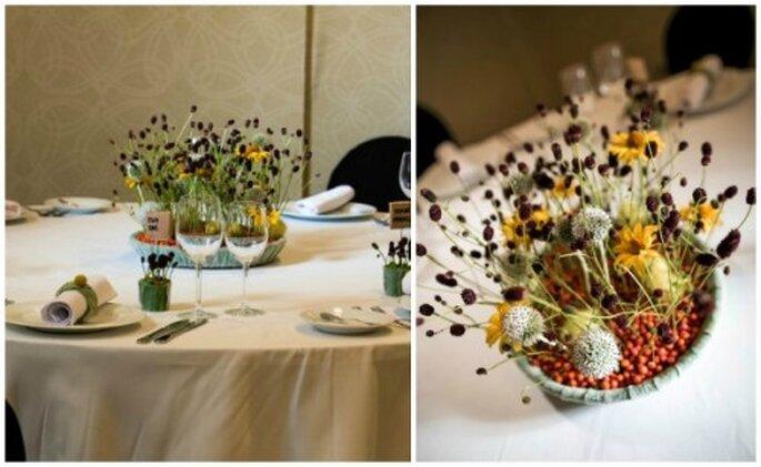 pomysl na dekorację stołu weselnego