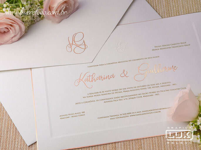 Convite clássico da Gráfica Lux Relevo
