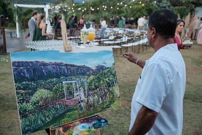 artista retratando cerimônia de casamento em aquerela