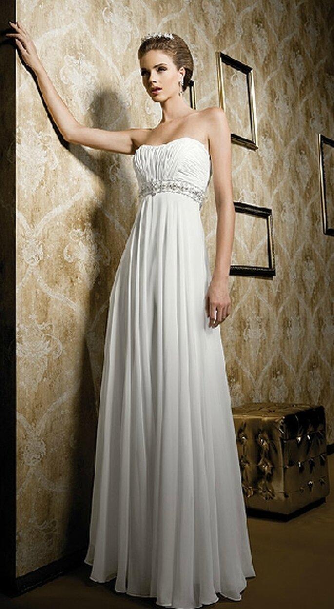 Vestido escote palabra de honor y silueta imperio. Bridenformal