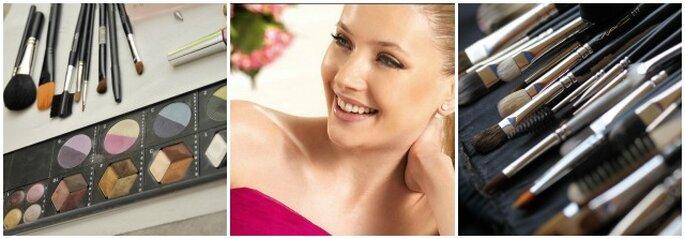 Tendenze trucco sposa 2013: colori nude,chiari e super luminosi! Foto New Image Officina d'Immagine e,al centro, www.pronovias.com