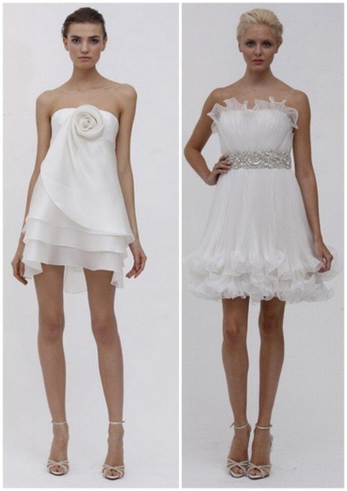 Vestido corto de novia para una boda en el día by Marchesa