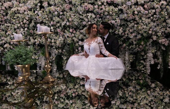 Decoração florida em Quinta Amadeu's