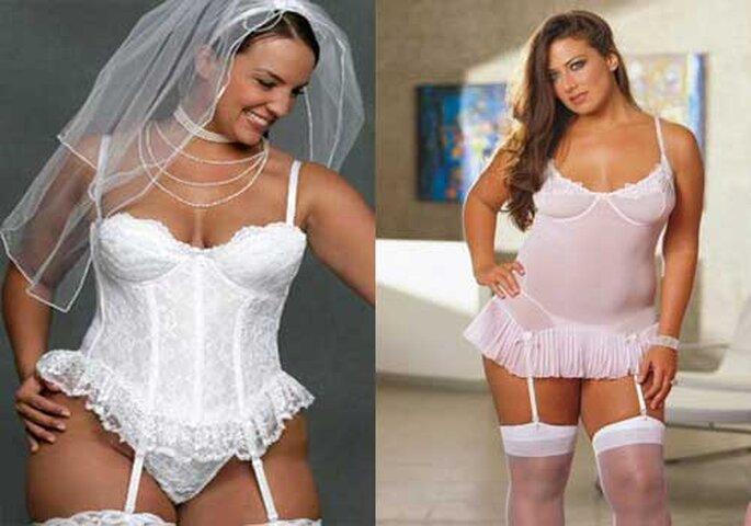 Lencería para novias con curvas, con corpiño, ligueros y balconier. Foto: Aquimoda