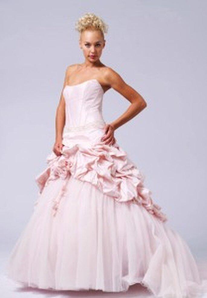 LME Créations - Apple, vestido largo en seda salvaje con fruncido rosa