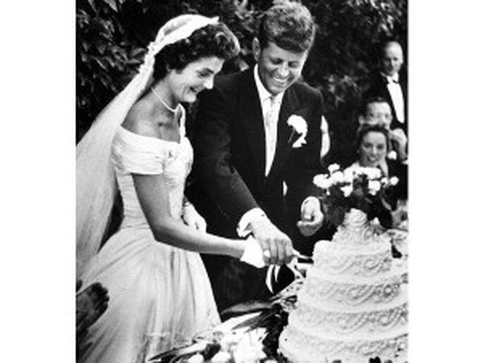 Jackie y John Kennedy. Vestido novia años 50.
