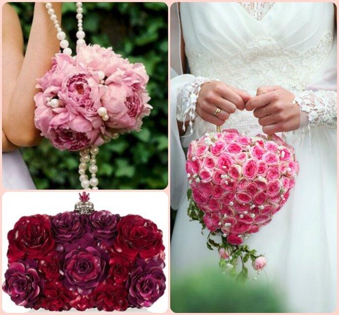 Peonie, perle e rose, e fiori smaltati per la clutch McQueen