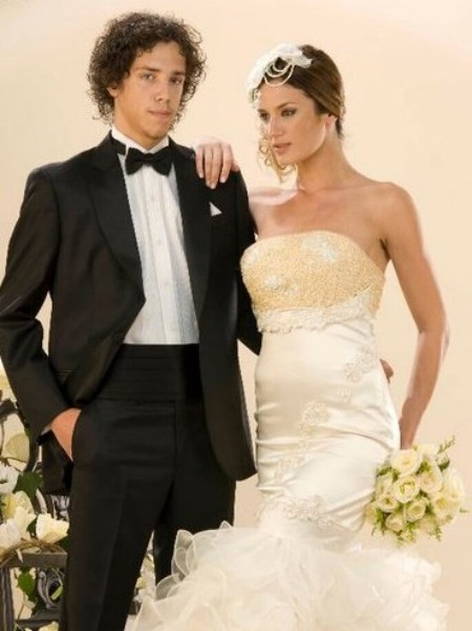 Paula Chaves con un vestido de novia de Reina Juliette