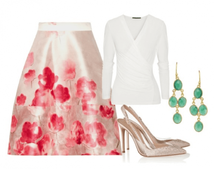 Falda de Lela Rose, blusa de Donna Karan, zapatos de Gianvitto Rossi y aretes de Chan Luu - Fotos Net a Porter