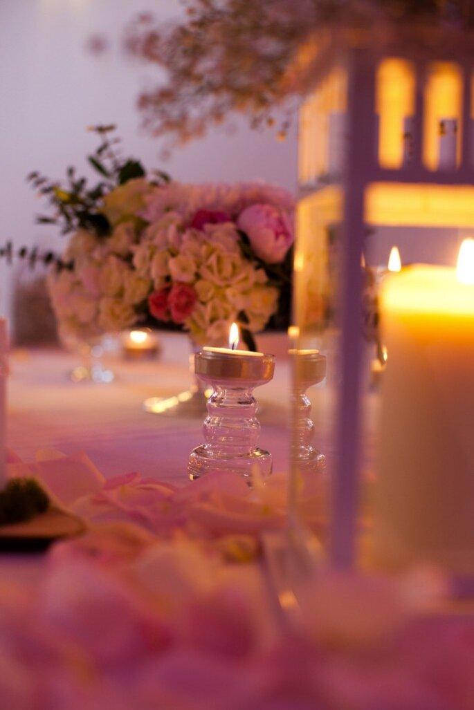 3- centre de table bougies et fleurs - wedding planner paris
