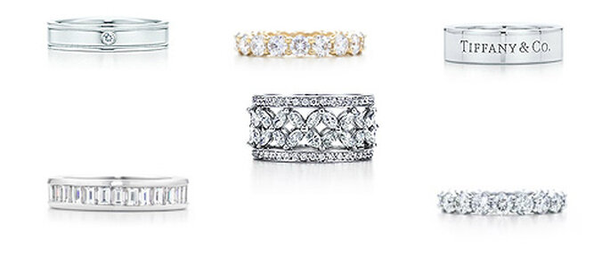 'Wedding bands' de Tiffany's, en oro blanco y amarillo, con diamantes incrustados