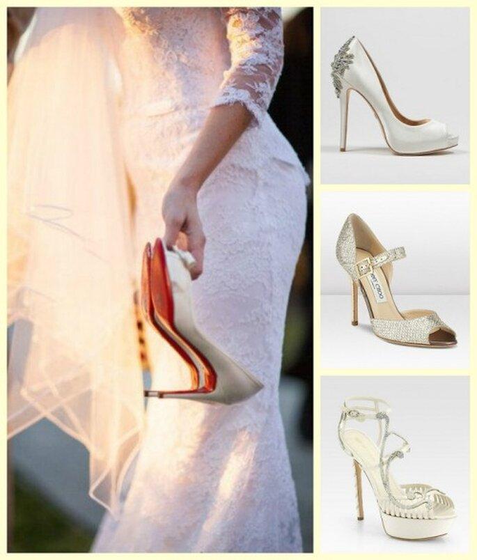 Modelos de zapatos para novia en tendencia - Fotos Badgley Mischka, Jimmy Choo y Sergio Rossi