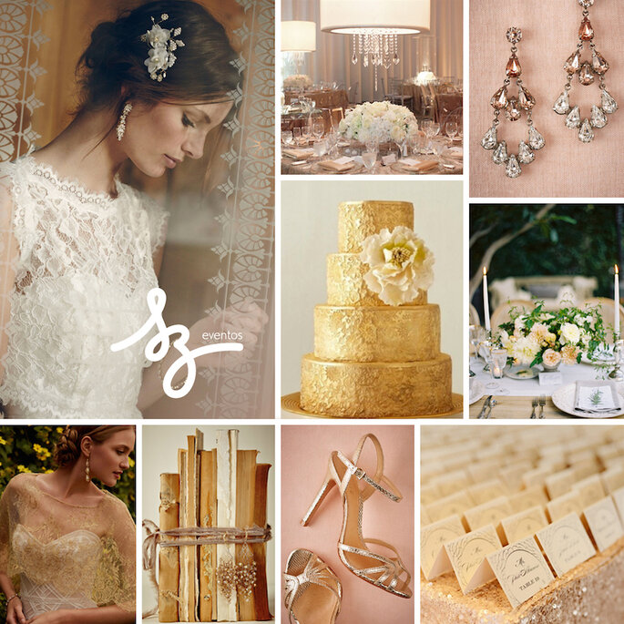 Descoración con encaje y color dorado para una boda romántica . Kurt Boomer Photo, BHLDN